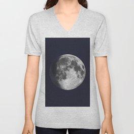 Waxing Gibbous Moon on Navy Unisex V-Neck