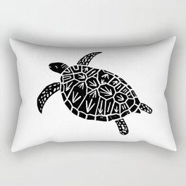 Linocut black and white turtle turtles ocean ocean life sealife art Rectangular Pillow