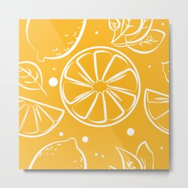 Orange Summer Pattern Print Metal Print