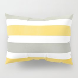 Yellow and Gray Wide Stripes Pattern Pillow Sham