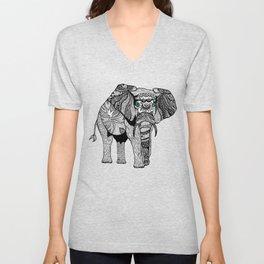 Tribal Elephant Black and White Version Unisex V-Neck