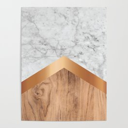 Arrows - White Marble, Rose Gold & Wood #924 Poster