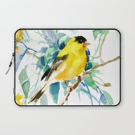 American Goldfinch, yellow sage green birds and flowers Laptop Sleeve