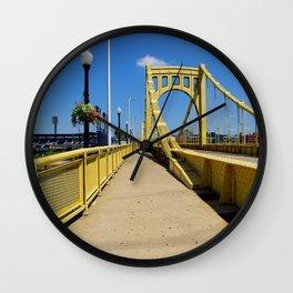 Yellow Bridge in Pittsburgh Wall Clock