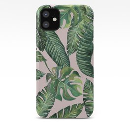 Jungle Leaves, Banana, Monstera Pink #society6 iPhone Case