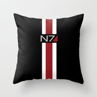 mass effect Throw Pillows featuring Mass Effect | Commander Shepard  by ~ isa ~