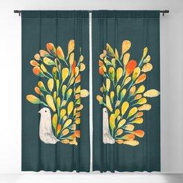 Watercolor Peacock Blackout Curtain