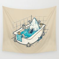 bath Wall Tapestries featuring BATH TIME by Letter_q
