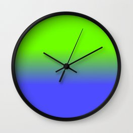 Neon Blue and Neon Green Ombré  Shade Color Fade Wall Clock