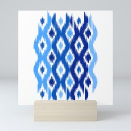 IKAT pattern, indigo blue and white, 02 Mini Art Print