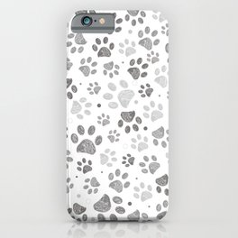 Doodle grey paw print seamless fabric design repeated pattern with grey background iPhone Case