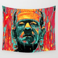 frankenstein Wall Tapestries featuring Frankenstein by nicebleed