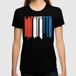 Red White And Blue Lafayette Louisiana Skyline T-shirt