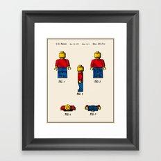 Lego Man Patent - Colour (v2) Framed Art Print