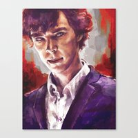 sherlock holmes Canvas Prints featuring Sherlock Holmes by Alice X. Zhang