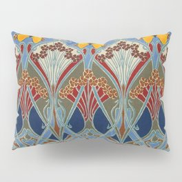 Ornate blue & Yellow Art Nouveau Butterfly Red Designs Pillow Sham