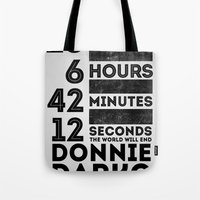 donnie darko Tote Bags featuring Donnie Darko 28:6:42:12 by Eric Schroeder