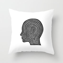 Abstract head profile Throw Pillow