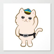 Animal Police - Cream cat Canvas Print