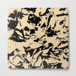 Beige Yellow Black Abstract Military Camouflage Metal Print