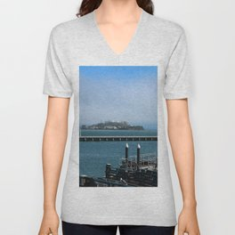 Alcatraz On A Foggy Morning Unisex V-Neck