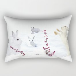 White rabbits dancing around red erica in snow mountain. Rectangular Pillow
