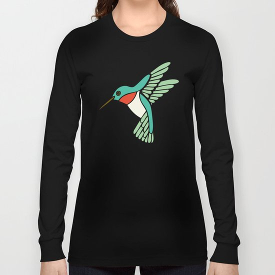 Hummingbird Pattern Long Sleeve T-shirt