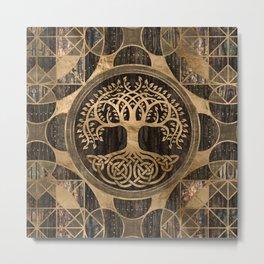 Tree of life -Yggdrasil - Wood Bark and Gold Metal Print