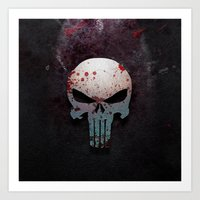 punisher Art Prints featuring Punisher Skull  by Electra