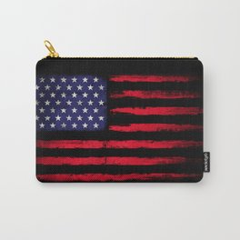 Vintage American flag on black Carry-All Pouch