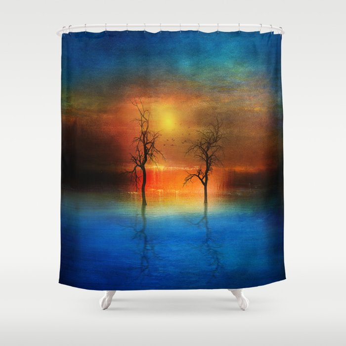 waterfall of light Shower Curtain