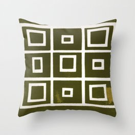 Hollywood Squares - Olive Throw Pillow