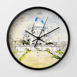 Sacré-Cœur de Montmartre, Basilica of the sacred Heart, Paris Wall Clock