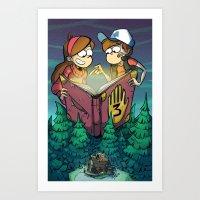 gravity falls Art Prints featuring Gravity Falls by Dinolich