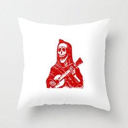Skeleton With Guitar Throw Pillow