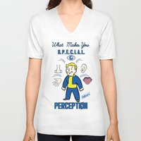 fallout 3 V-neck T-shirts featuring PerceptionS.P.E.C.I.A.L. Fallout 4 by sgrunfo