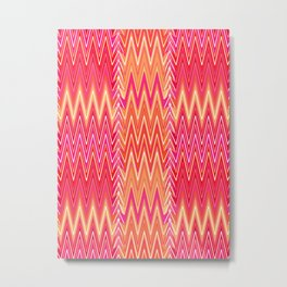 Flame Stitch Pattern, Coral, Fuchsia Pink and Gold Metal Print