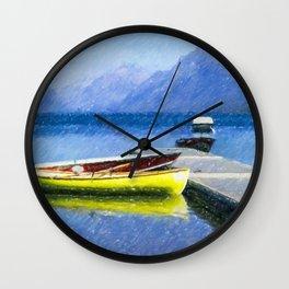 Lake McDonald Boats Wall Clock