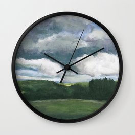 Impressionistic Kansas Landscape Wall Clock