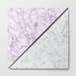 Lavender white faux gold abstract geometric marble Metal Print