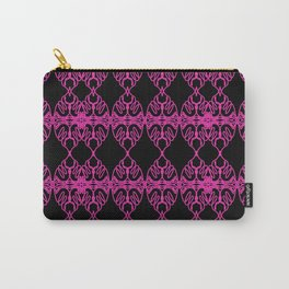 Luxury PINK Ornaments on BLACK Carry-All Pouch