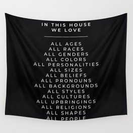 In This House Diversity Acceptance Print - American English - Black Wall Tapestry