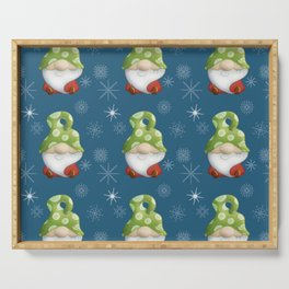 Blue Winter Gnome Pattern Serving Tray