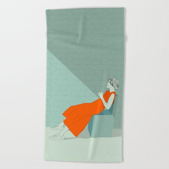 The woman in orange Beach Towel