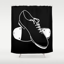 Tap shoes - white line on black background  Shower Curtain