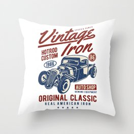 Vintage Iron Hot Rod Custom Throw Pillow