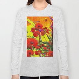 MODERN TROPICAL FLOWERS GARDEN DESIGN IN YELLOW-ORANGE COLORS Long Sleeve T-shirt