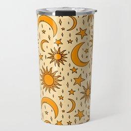 Vintage Sun and Star Print Travel Mug
