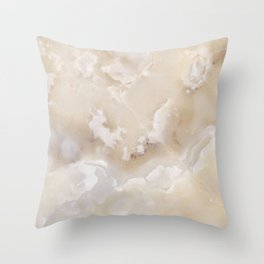 White Onyx Watercolor Texture Throw Pillow