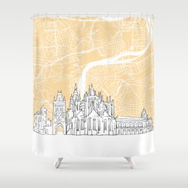Prague Czech Republic Skyline Map Shower Curtain